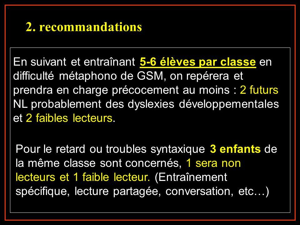 Pour le retard ou troubles syntaxique 3 enfants de la même classe sont concernés, 1 sera non lecteurs et 1 faible lecteur. (Entraînement spécifique, l