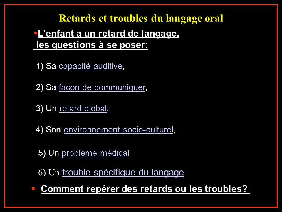 Retards et troubles du langage oral 1) Sa capacité auditive,capacité auditive 2) Sa façon de communiquer,façon de communiquer Lenfant a un retard de l