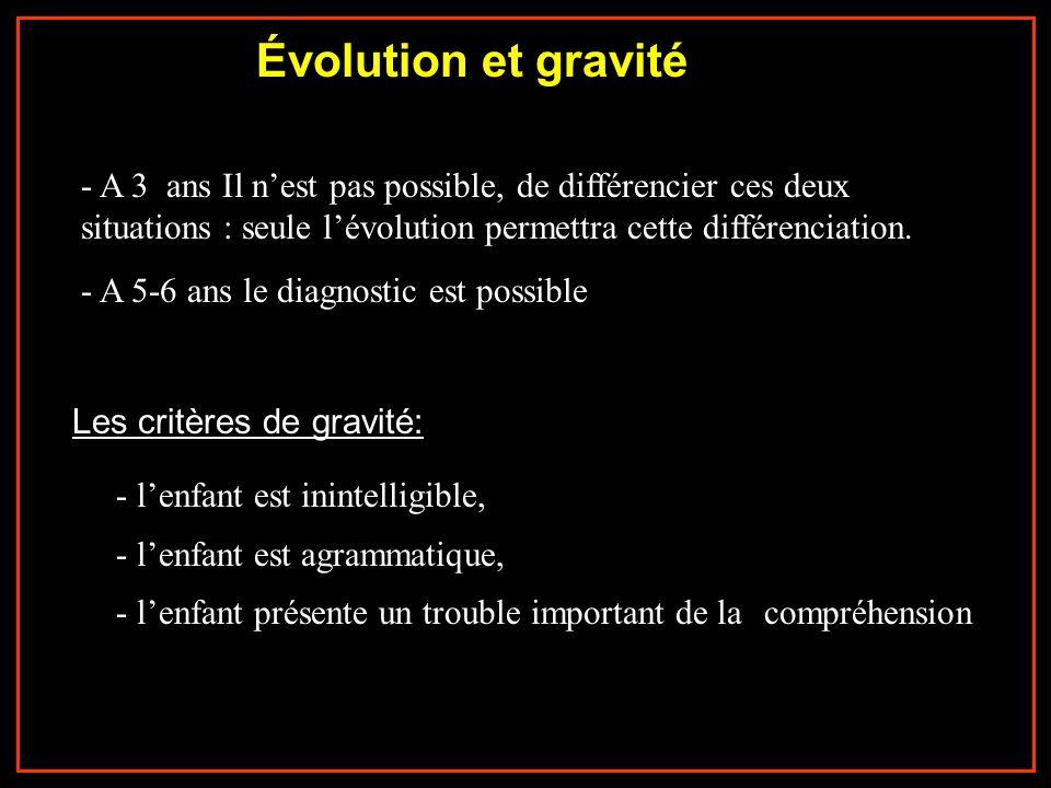 - A 3 ans Il nest pas possible, de différencier ces deux situations : seule lévolution permettra cette différenciation. - A 5-6 ans le diagnostic est