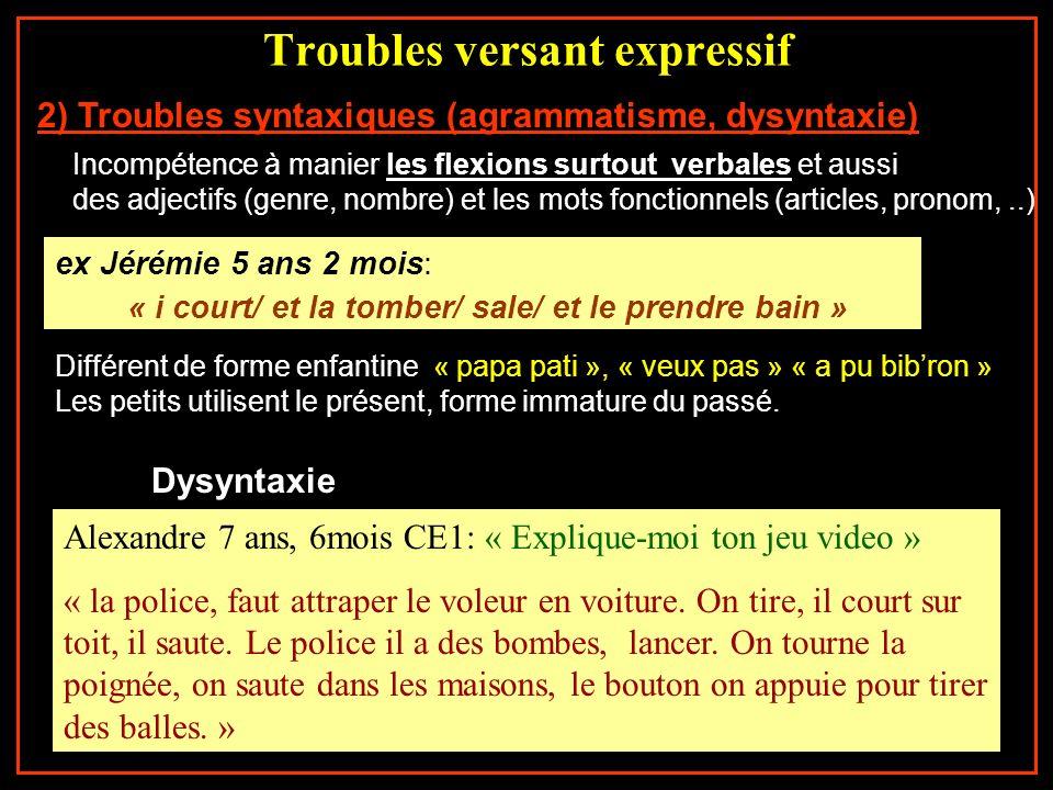 Troubles versant expressif 2) Troubles syntaxiques (agrammatisme, dysyntaxie) Incompétence à manier les flexions surtout verbales et aussi des adjecti