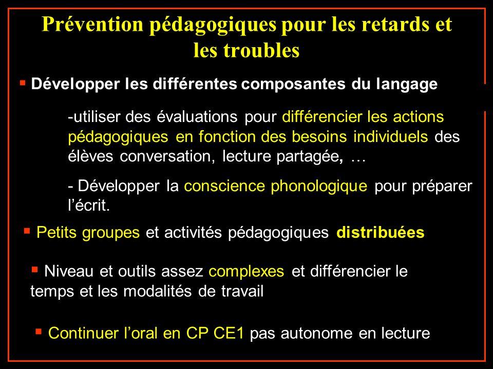 Prévention pédagogiques pour les retards et les troubles Développer les différentes composantes du langage -utiliser des évaluations pour différencier
