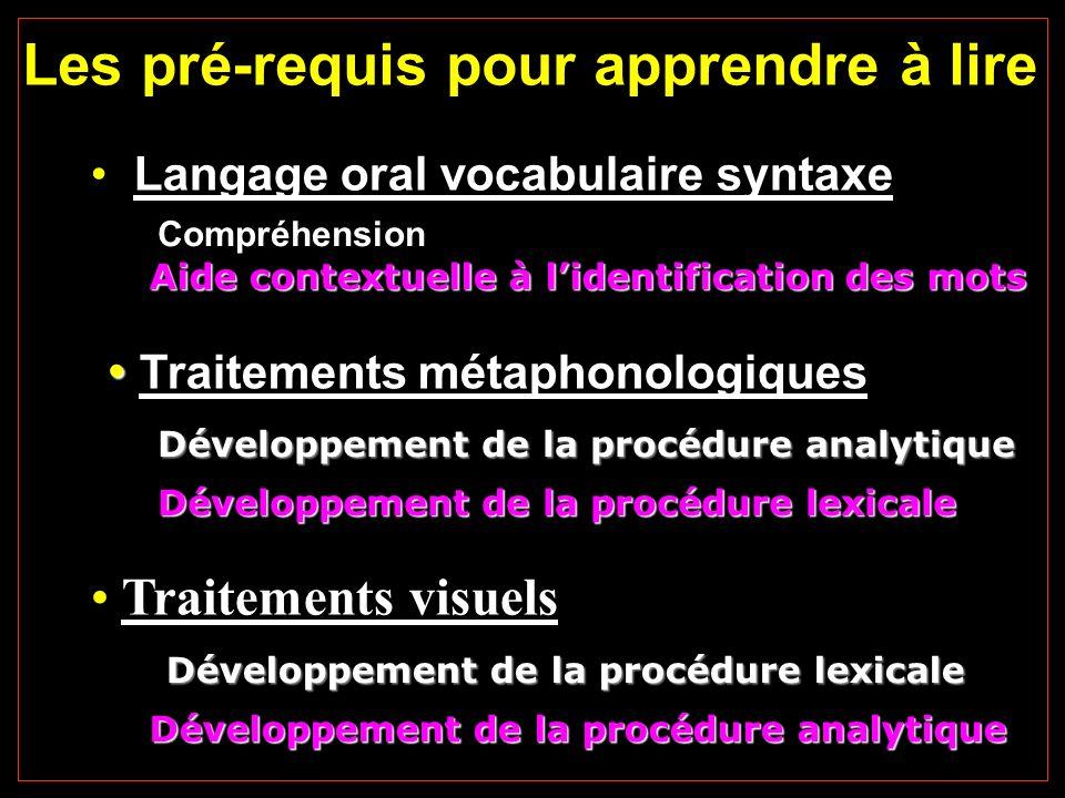 Les pré-requis pour apprendre à lire Traitements métaphonologiques Développement de la procédure analytique Développement de la procédure lexicale Tra