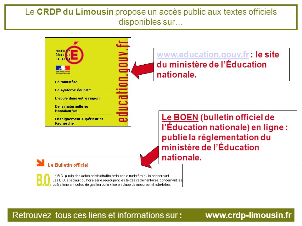 Le CRDP du Limousin propose un accès public aux textes officiels disponibles sur… www.education.gouv.frwww.education.gouv.fr : le site du ministère de lÉducation nationale.