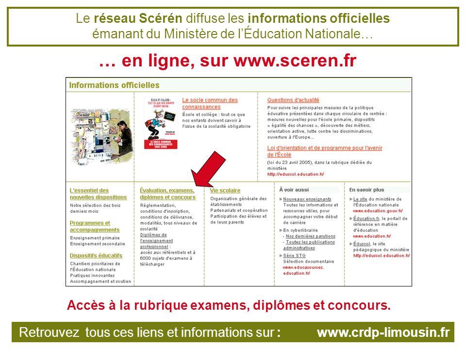 Dautres ressources en ligne sur les sites du réseau Scérén Les pages documentation administrative du CRDP de lacadémie de Grenoble Retrouvez tous ces liens et informations sur : www.crdp-limousin.fr