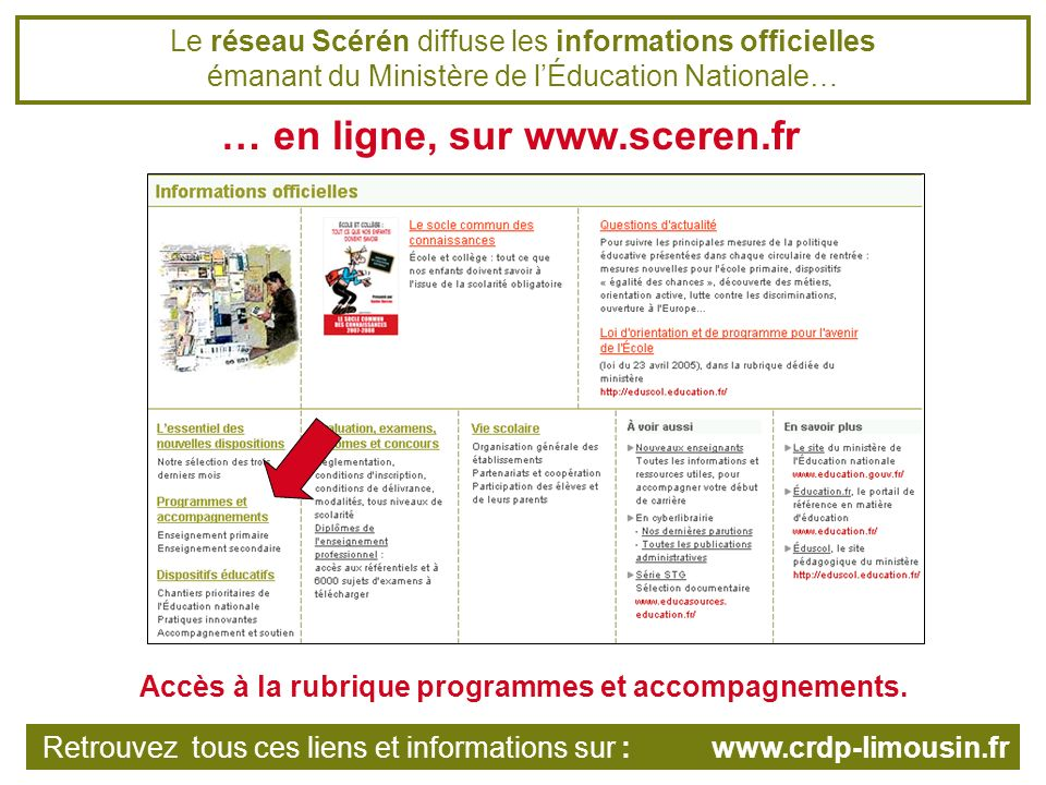 Le réseau Scérén diffuse les informations officielles émanant du Ministère de lÉducation Nationale… … en ligne, sur www.sceren.fr Retrouvez tous ces liens et informations sur : www.crdp-limousin.fr Accès à la rubrique programmes et accompagnements.