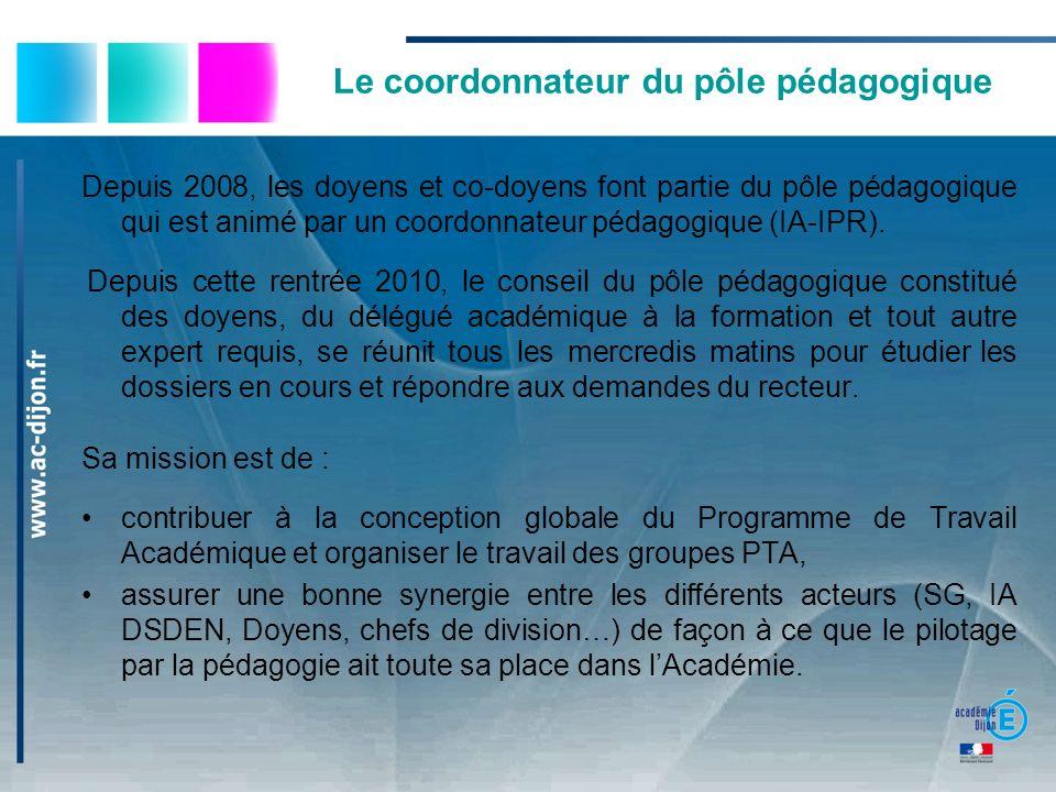 Le coordonnateur du pôle pédagogique Depuis 2008, les doyens et co-doyens font partie du pôle pédagogique qui est animé par un coordonnateur pédagogiq