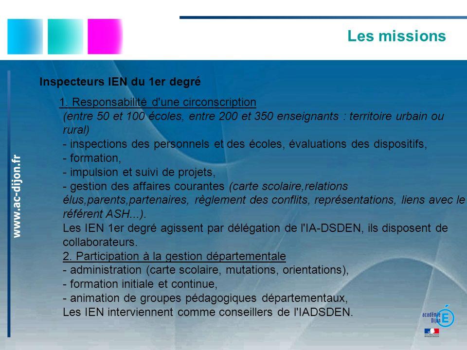 Les missions Inspecteurs IEN du 1er degré 1. Responsabilité d'une circonscription (entre 50 et 100 écoles, entre 200 et 350 enseignants : territoire u