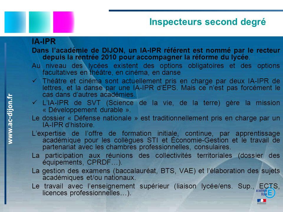 Inspecteurs second degré IA-IPR Dans lacadémie de DIJON, un IA-IPR référent est nommé par le recteur depuis la rentrée 2010 pour accompagner la réform