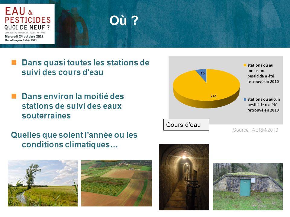 nDans quasi toutes les stations de suivi des cours d'eau nDans environ la moitié des stations de suivi des eaux souterraines Quelles que soient l'anné
