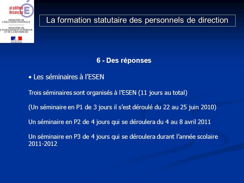 6 - Des réponses Les séminaires à lESEN Trois séminaires sont organisés à lESEN (11 jours au total) (Un séminaire en P1 de 3 jours il sest déroulé du