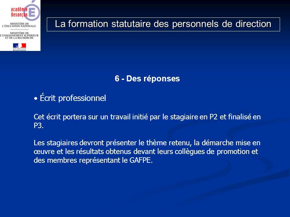 6 - Des réponses Écrit professionnel Cet écrit portera sur un travail initié par le stagiaire en P2 et finalisé en P3. Les stagiaires devront présente