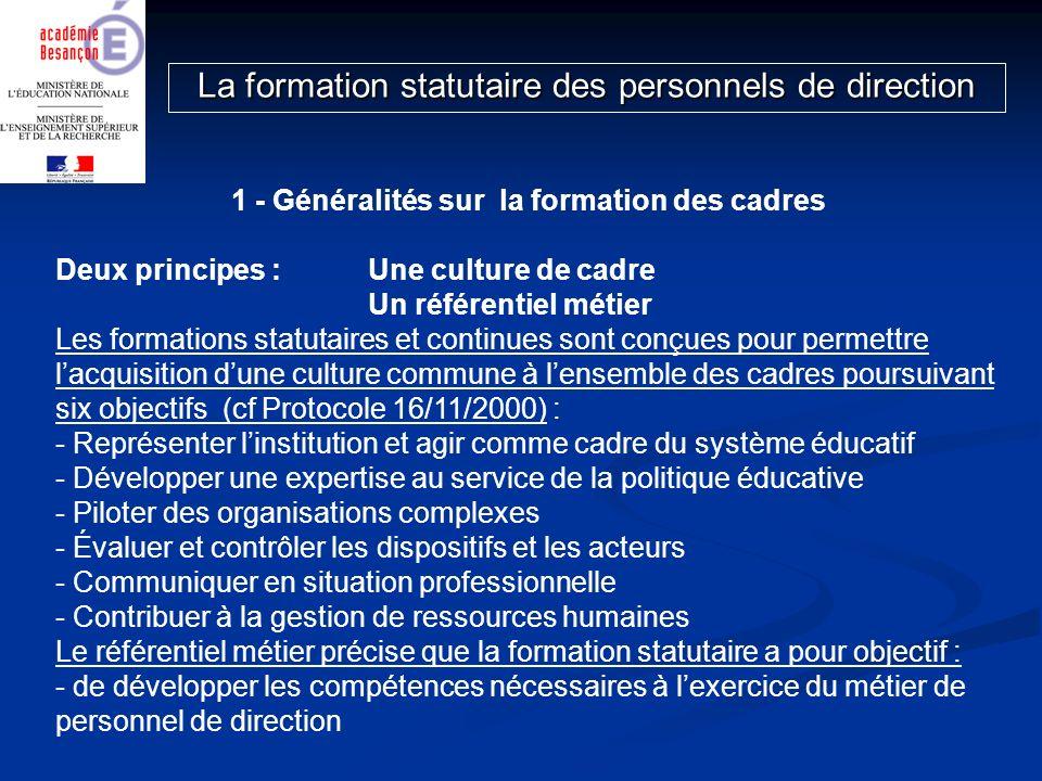 1 - Généralités sur la formation des cadres Deux principes : Une culture de cadre Un référentiel métier Les formations statutaires et continues sont c