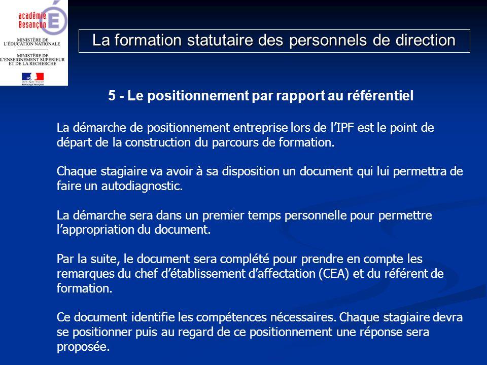 5 - Le positionnement par rapport au référentiel La démarche de positionnement entreprise lors de lIPF est le point de départ de la construction du pa