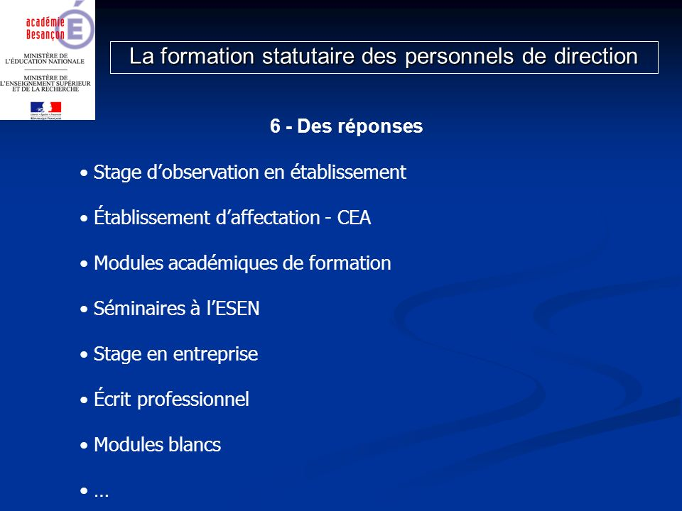 6 - Des réponses Stage dobservation en établissement Établissement daffectation - CEA Modules académiques de formation Séminaires à lESEN Stage en ent