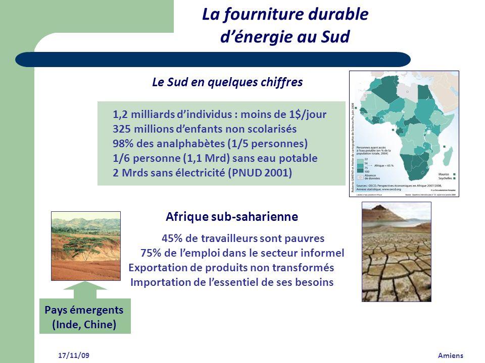 La fourniture durable dénergie au Sud Le Sud en quelques chiffres Afrique sub-saharienne 45% de travailleurs sont pauvres 75% de lemploi dans le secte