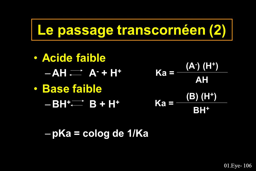 01.Eye- 106 Le passage transcornéen (2) Acide faible –AH A - + H + Base faible –BH + B + H + –pKa = colog de 1/Ka Ka = (A - ) (H + ) AH Ka = (B) (H +