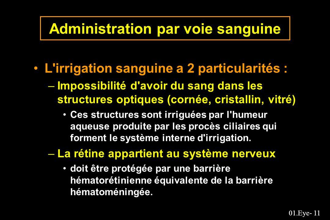 01.Eye- 11 Administration par voie sanguine L'irrigation sanguine a 2 particularités : –Impossibilité d'avoir du sang dans les structures optiques (co