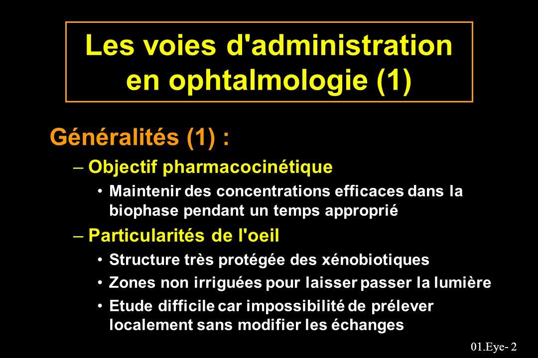 01.Eye- 53 Effet du volume des gouttes d un collyre à la pilocarpine sur l absorption Intraocular bioavailability Varying drug doseConstant drug dose Instillation volume ( L) AUC/dose c (min/mL) Absorbed (%) AUP/dose d (cm min -1 g -1 Peak height e (mm) K nl f (sec -1 ) 75 50 25 15 10 5 --- 0.90 1.57 1.89 2.79 --- 1.16 1.92 2.23 3.01 1.27 1.45 1.65 --- 2.62 4.60 2.05 2.40 2.53 --- 3.53 4.17 --- 0.82 0.55 --- 0.37 0.31 AUP/dose donne l aire sous la courbe des diamètres pupillaires pour une dose c The area under the aqueous humor drug concentration-time profile (AUC) achieved by a unit drug dose d The area under the pupillary diameter-time profile (AUP) achieved by a unit drug dose e The mean of the peak height of the change in pupillary diameter-time profile f The first-order nasolacrimal rate constant