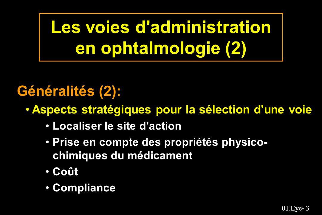 01.Eye- 3 Les voies d'administration en ophtalmologie (2) Généralités (2): Aspects stratégiques pour la sélection d'une voie Localiser le site d'actio