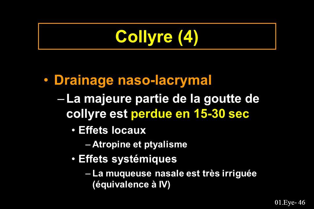 01.Eye- 46 Collyre (4) Drainage naso-lacrymal –La majeure partie de la goutte de collyre est perdue en 15-30 sec Effets locaux –Atropine et ptyalisme