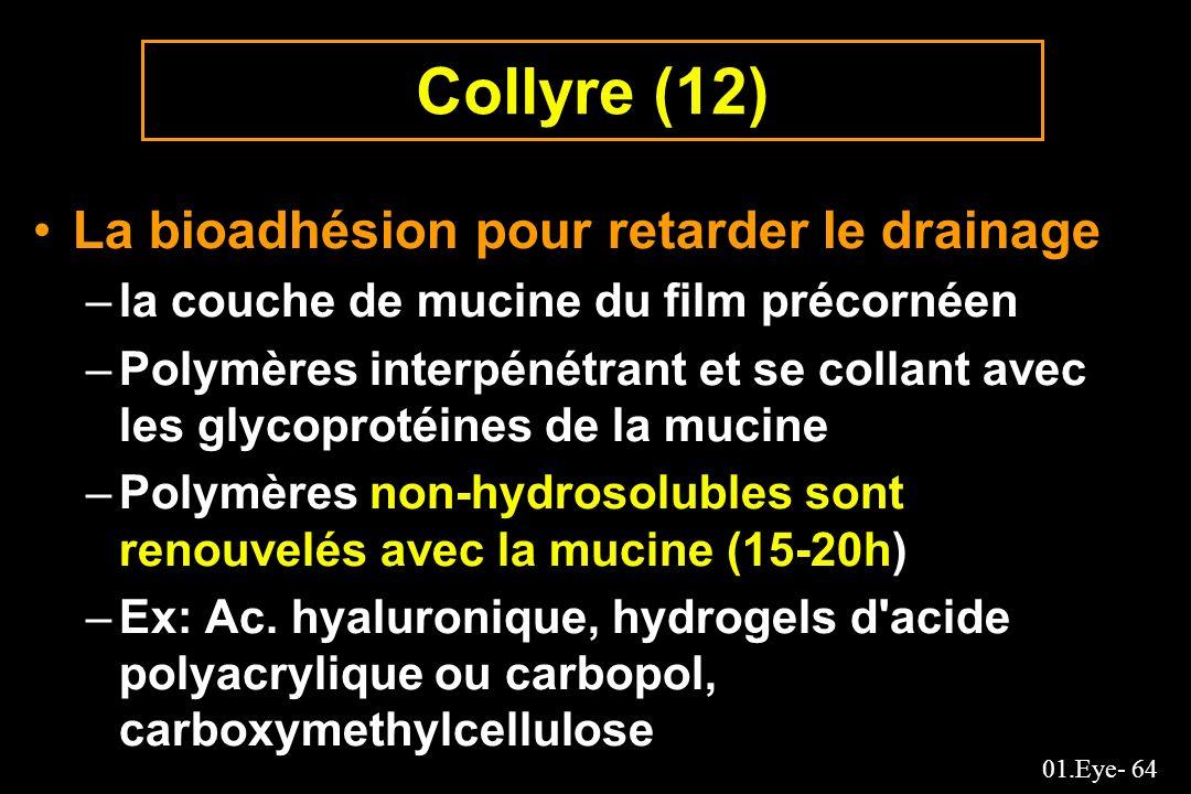 01.Eye- 64 Collyre (12) La bioadhésion pour retarder le drainage –la couche de mucine du film précornéen –Polymères interpénétrant et se collant avec