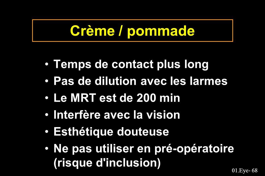 01.Eye- 68 Crème / pommade Temps de contact plus long Pas de dilution avec les larmes Le MRT est de 200 min Interfère avec la vision Esthétique douteu
