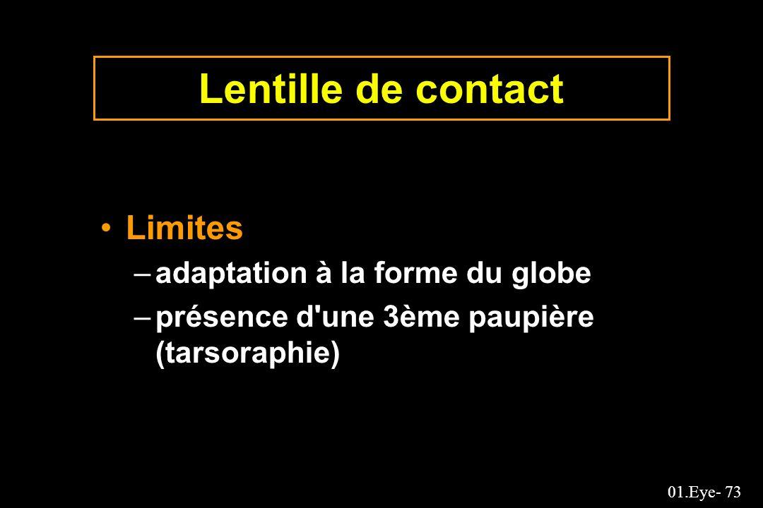 01.Eye- 73 Lentille de contact Limites –adaptation à la forme du globe –présence d'une 3ème paupière (tarsoraphie)