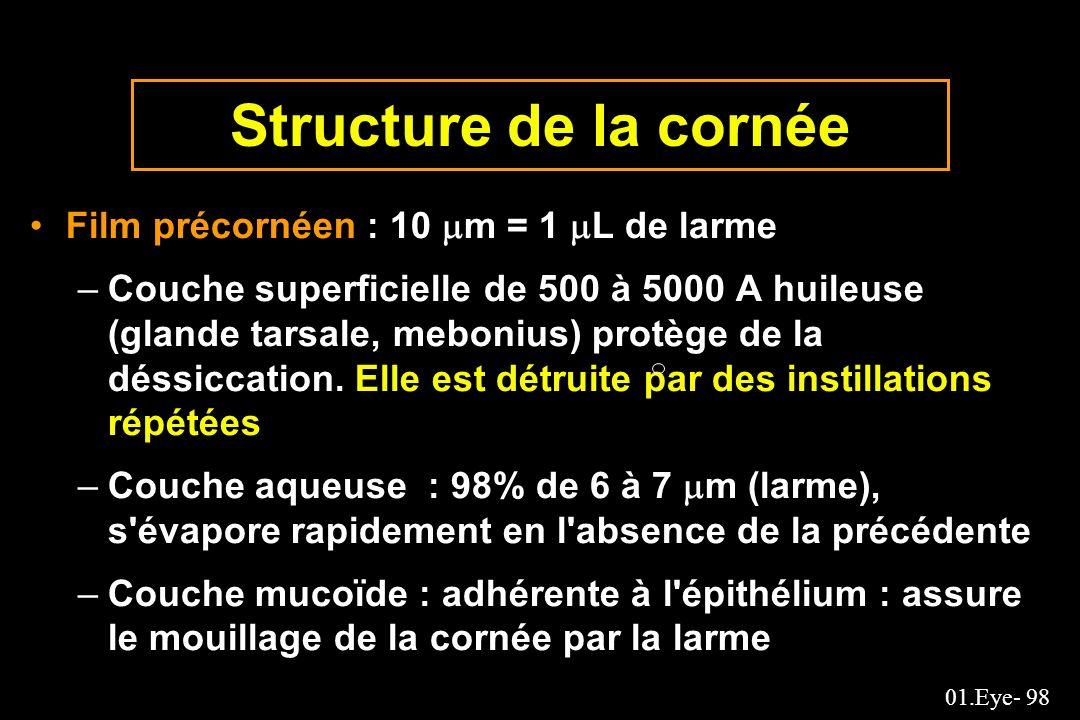 01.Eye- 98 Structure de la cornée Film précornéen : 10 m = 1 L de larme –Couche superficielle de 500 à 5000 A huileuse (glande tarsale, mebonius) prot