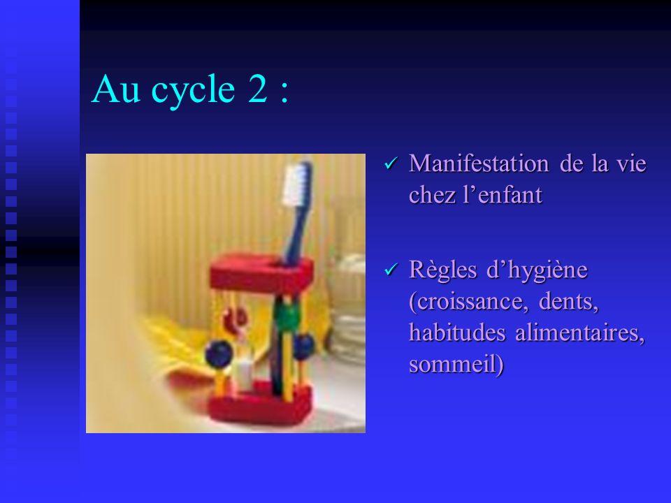 Au cycle 1 : découverte sensorielle découverte sensorielle découverte du corps découverte du corps hygiène et sécurité hygiène et sécurité