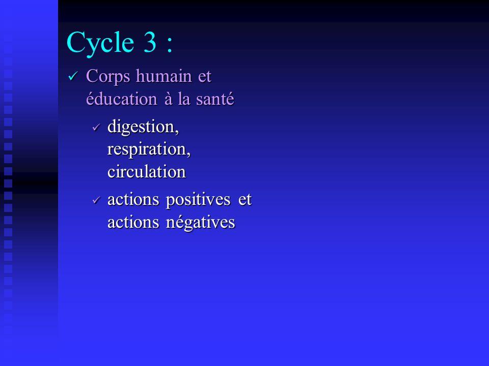 Au cycle 2 : Manifestation de la vie chez lenfant Règles dhygiène (croissance, dents, habitudes alimentaires, sommeil)