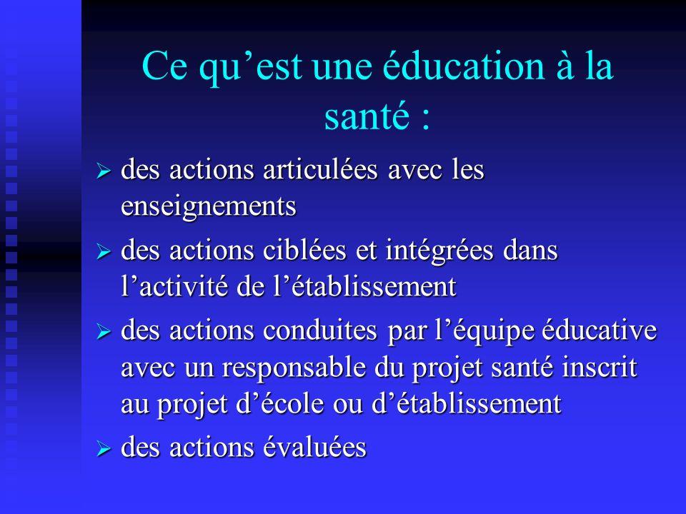 Ce que nest pas une éducation à la santé : actions menées au sein du cours de SVT ou denseignement scientifique actions menées au sein du cours de SVT