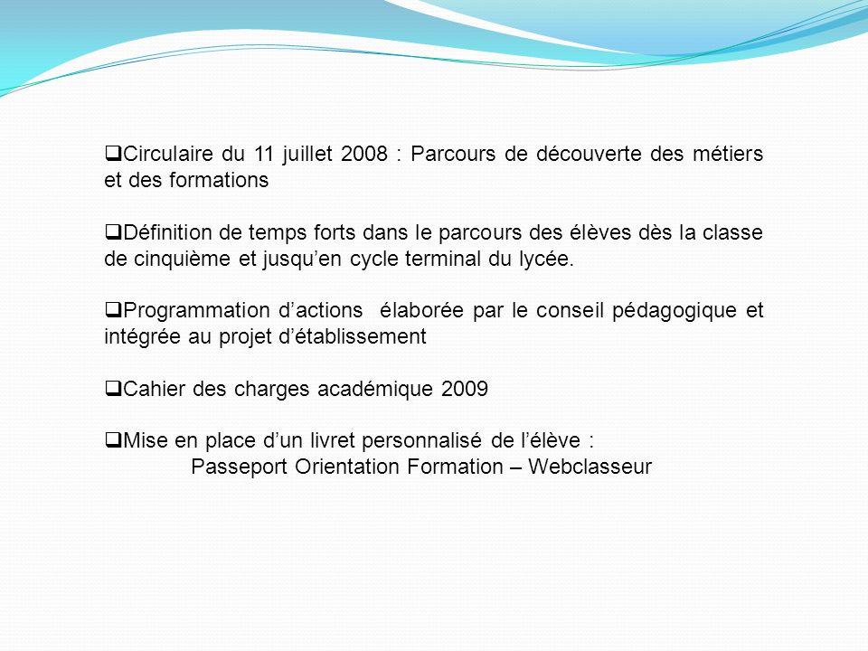 Circulaire du 11 juillet 2008 : Parcours de découverte des métiers et des formations Définition de temps forts dans le parcours des élèves dès la clas