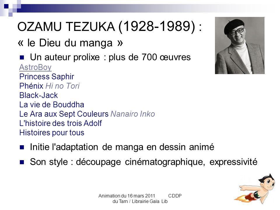 Animation du 16 mars 2011 CDDP du Tarn / Librairie Gaïa Lib HISTORIQUE 2/2 : Reconnaissance du manga Après-guerre : « akahon » - «kashihon» édités par de petits éditeurs dOsaka.