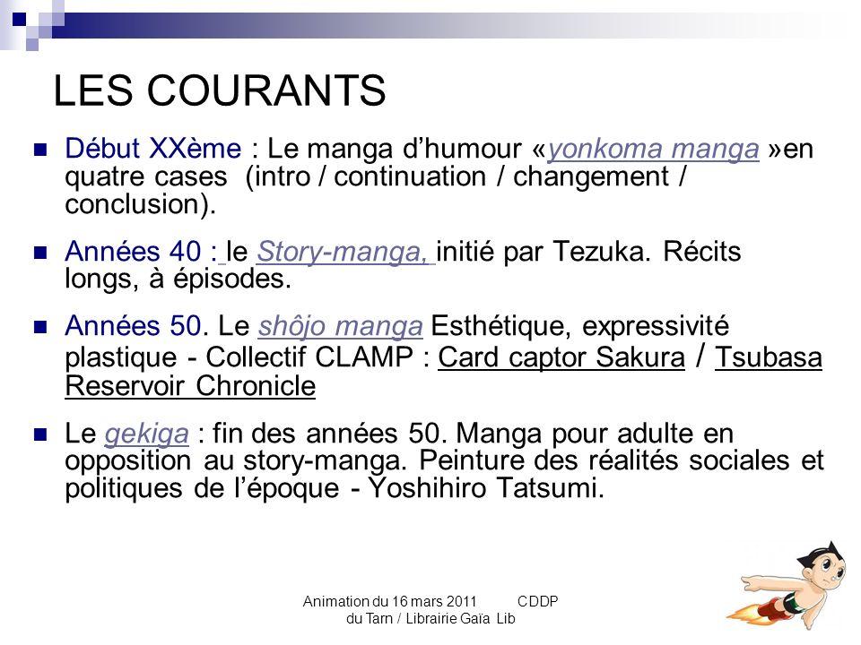 Animation du 16 mars 2011 CDDP du Tarn / Librairie Gaïa Lib Le manga : un support pédagogique.