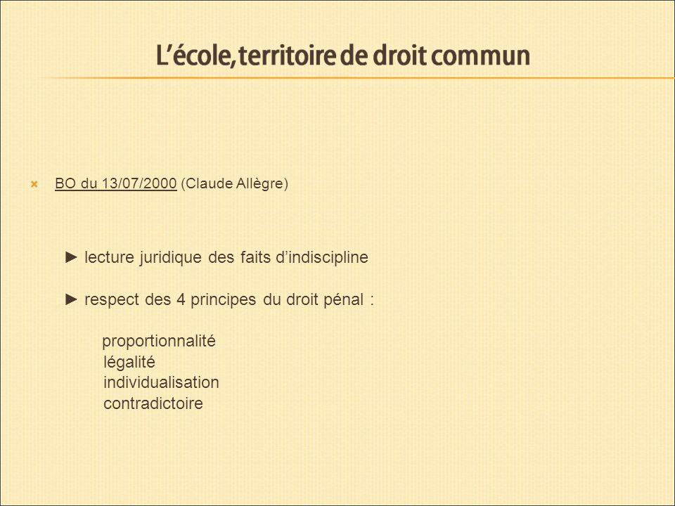 BO du 13/07/2000 (Claude Allègre) lecture juridique des faits dindiscipline respect des 4 principes du droit pénal : proportionnalité légalité individualisation contradictoire