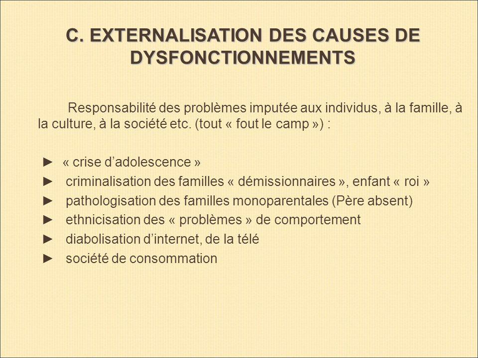 C. EXTERNALISATION DES CAUSES DE DYSFONCTIONNEMENTS Responsabilité des problèmes imputée aux individus, à la famille, à la culture, à la société etc.