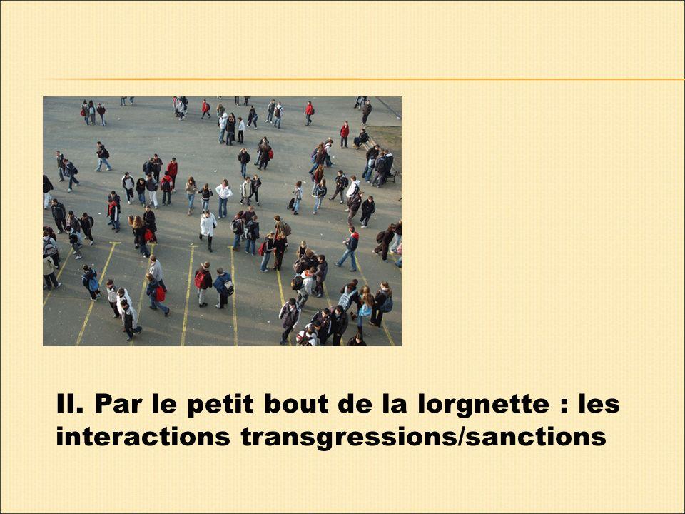 II. Par le petit bout de la lorgnette : les interactions transgressions/sanctions
