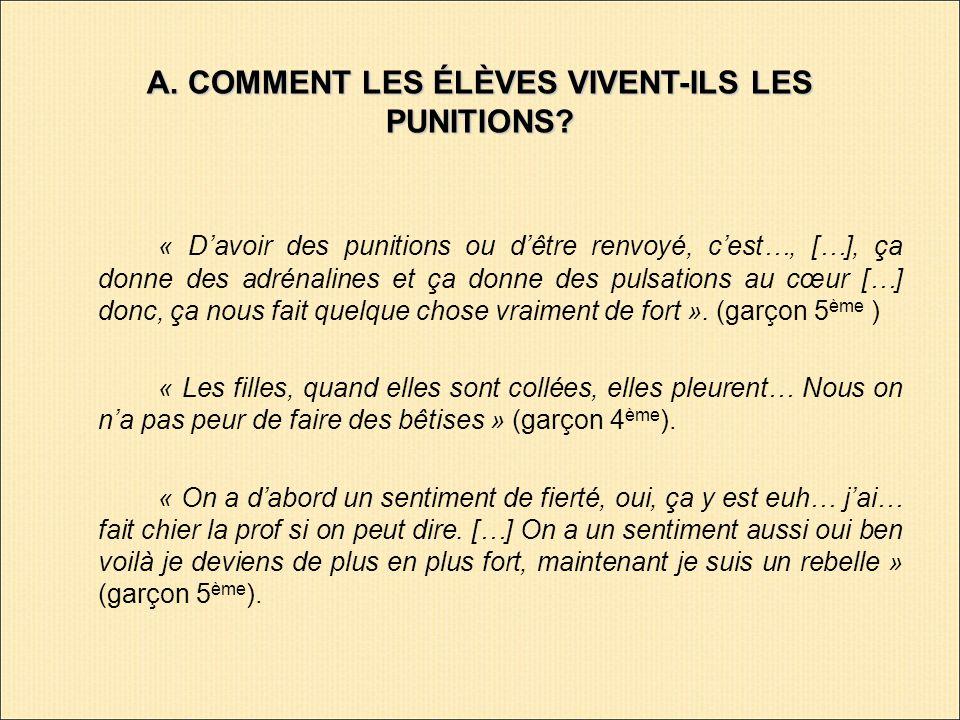 A. COMMENT LES ÉLÈVES VIVENT-ILS LES PUNITIONS.