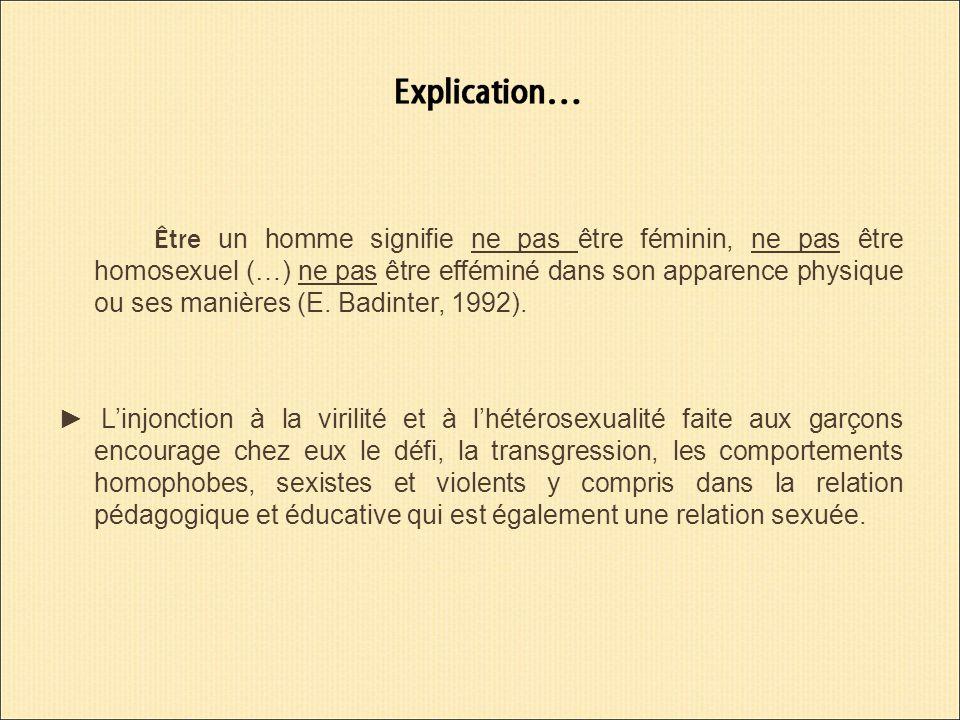 Être un homme signifie ne pas être féminin, ne pas être homosexuel (…) ne pas être efféminé dans son apparence physique ou ses manières (E.