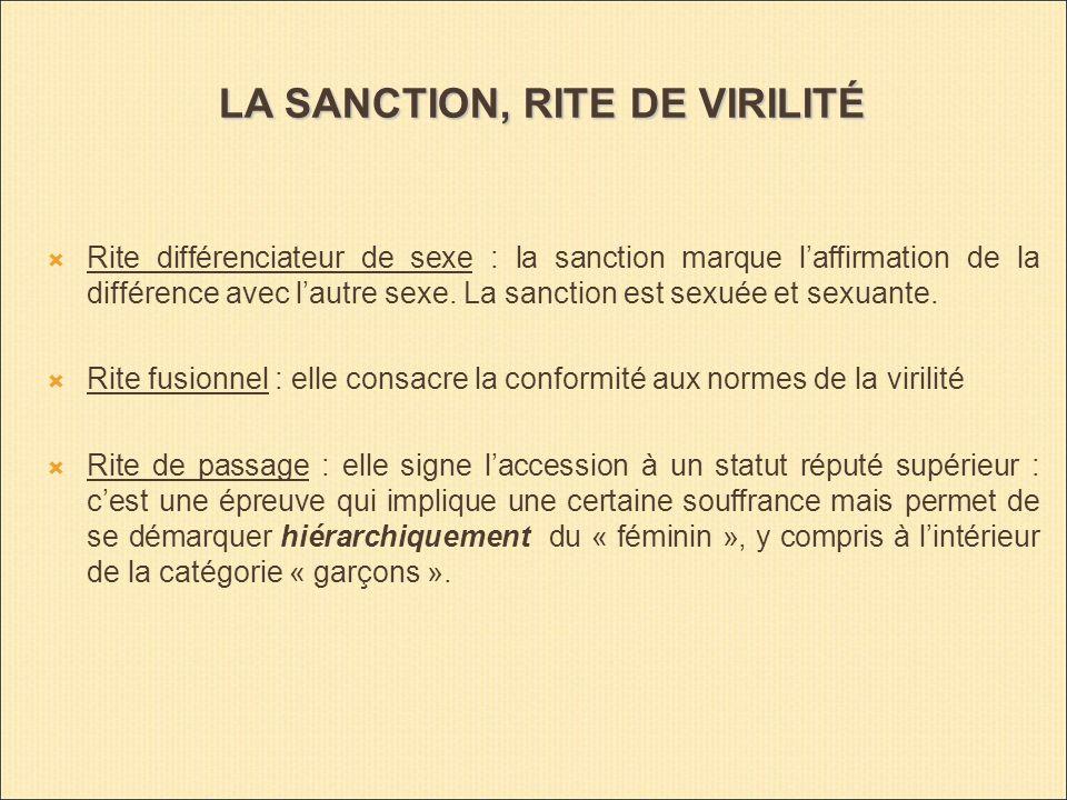 LA SANCTION, RITE DE VIRILITÉ Rite différenciateur de sexe : la sanction marque laffirmation de la différence avec lautre sexe.