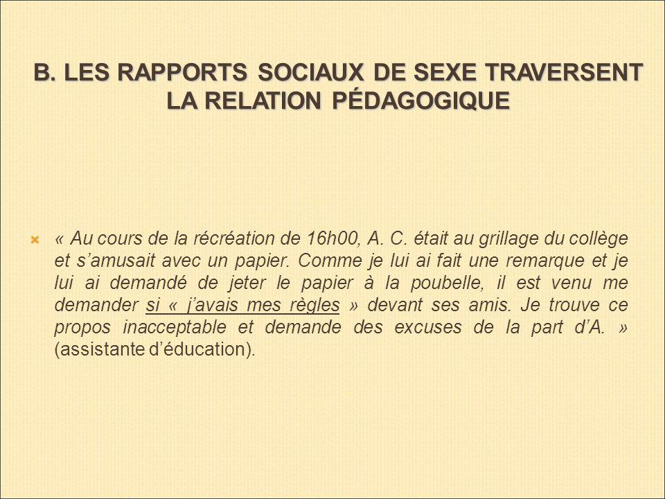 B. LES RAPPORTS SOCIAUX DE SEXE TRAVERSENT LA RELATION PÉDAGOGIQUE « Au cours de la récréation de 16h00, A. C. était au grillage du collège et samusai