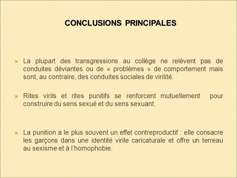 CONCLUSIONS PRINCIPALES La plupart des transgressions au collège ne relèvent pas de conduites déviantes ou de « problèmes » de comportement mais sont, au contraire, des conduites sociales de virilité.