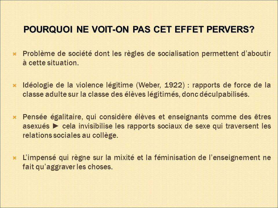 POURQUOI NE VOIT-ON PAS CET EFFET PERVERS.