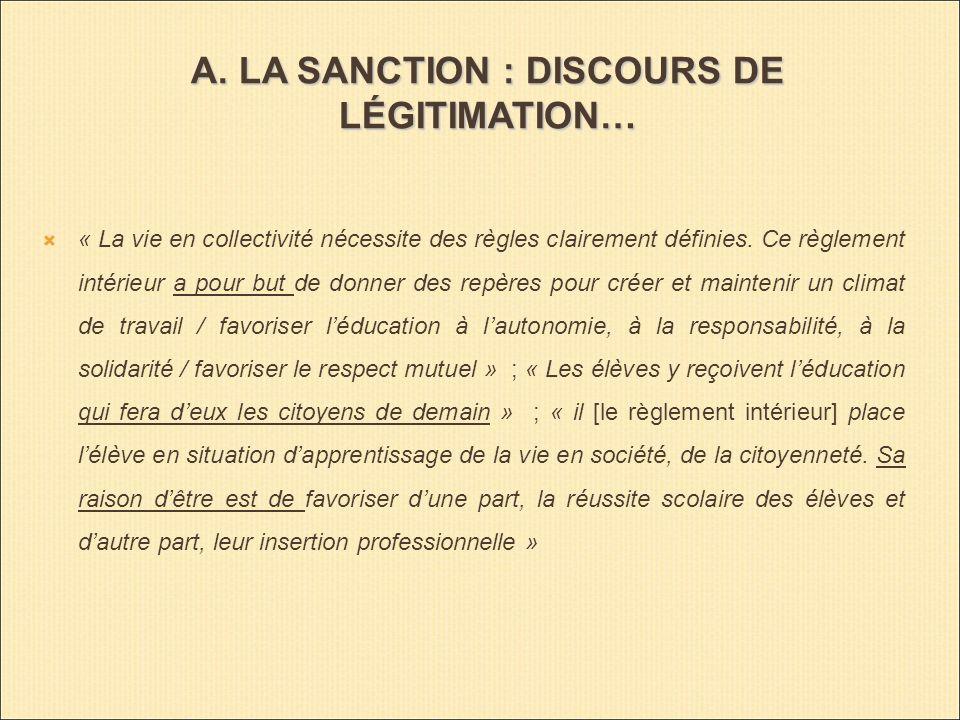 A. LA SANCTION : DISCOURS DE LÉGITIMATION… « La vie en collectivité nécessite des règles clairement définies. Ce règlement intérieur a pour but de don