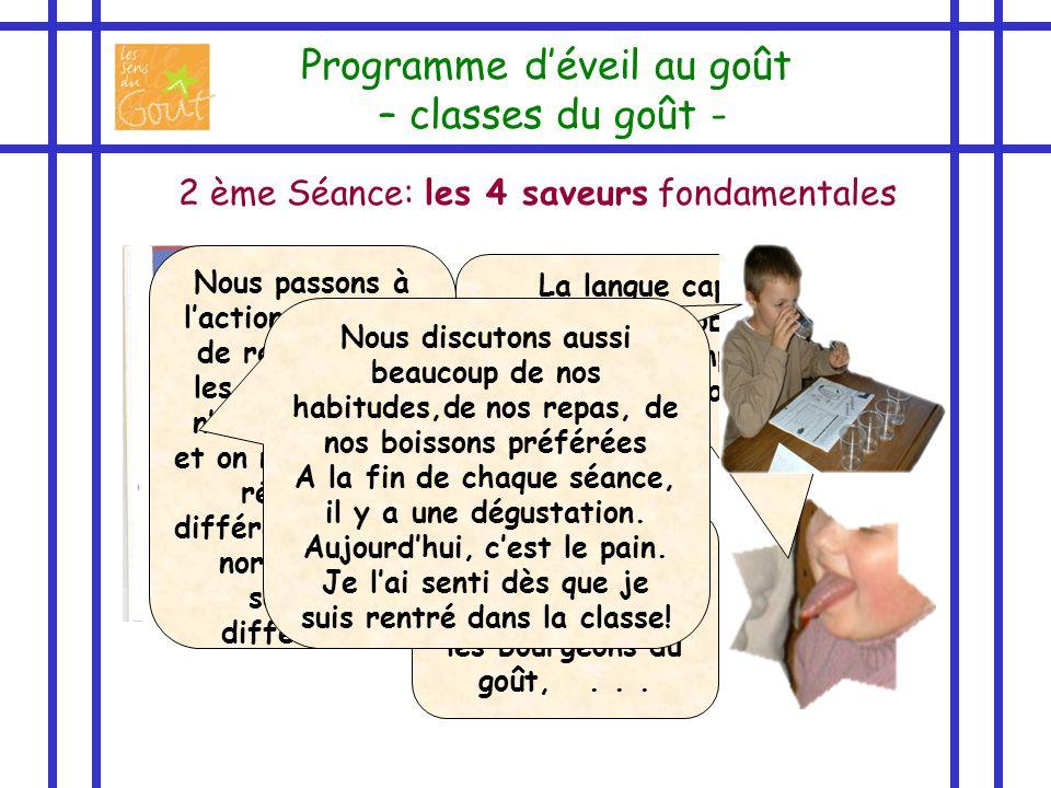 2 ème Séance: les 4 saveurs fondamentales Programme déveil au goût – classes du goût - La langue capte les saveurs, alors observons la bien pour compr