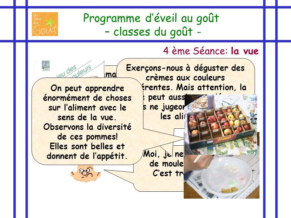 4 ème Séance: la vue Programme déveil au goût – classes du goût - Moi, je nai jamais goûté dépinards mais rien quen les voyant, je sais que je ne les