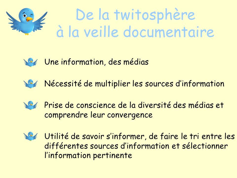 De la twitosphère à la veille documentaire Une information, des médias Nécessité de multiplier les sources dinformation Prise de conscience de la dive