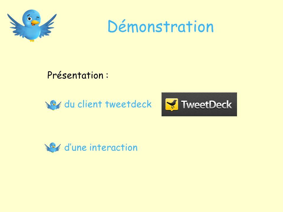 Démonstration Présentation : du client tweetdeck dune interaction