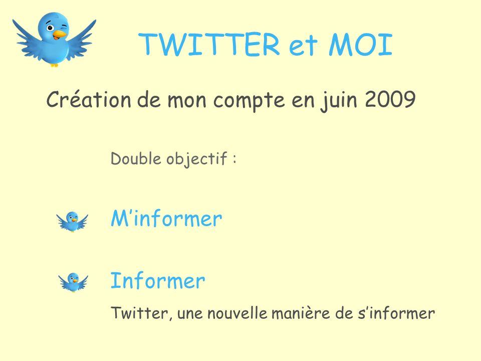 TWITTER et MOI Création de mon compte en juin 2009 Double objectif : Minformer Informer Twitter, une nouvelle manière de sinformer