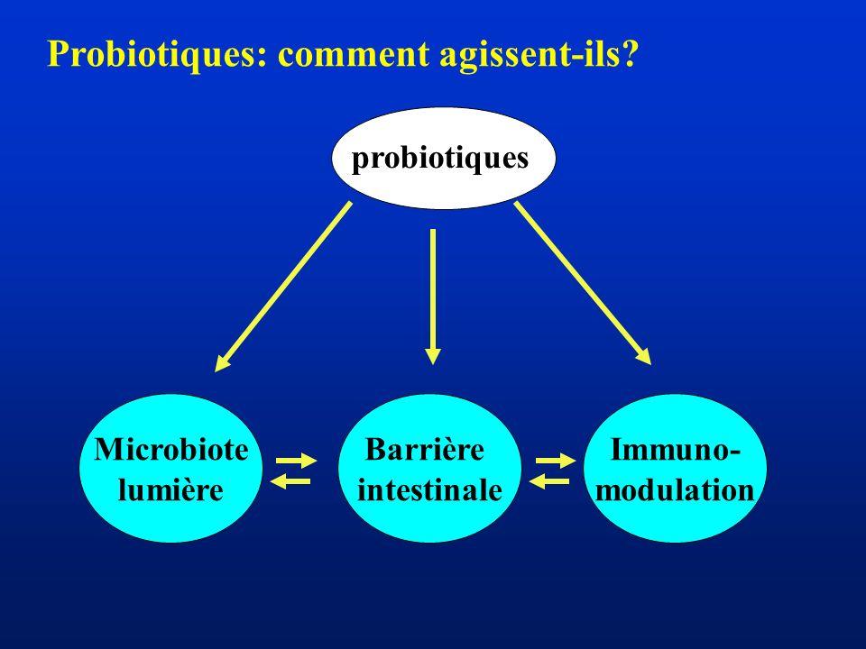Probiotiques et pathologies gastro-intestinales Intolérance au lactose Gastroentérites infectieuses Diarrhée associée à lantibiothérapie Maladies inflammatoires chroniques de lintestin (MICI) Syndrome de lintestin irritable (IBS)
